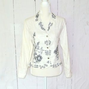 Chico's Blazer White embroidery Lace Applique